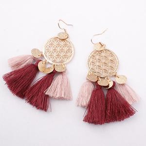 Less Than 1$,11 Color Available,Baublebar Tassel Earrings Gold Tone Round  Disc Bohemian Tassel Drop Hook Earrings