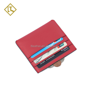 Full grain soft genuine leather slim card holder handmade minimalist wallet front pocket wallet RFID card holder wallet for men