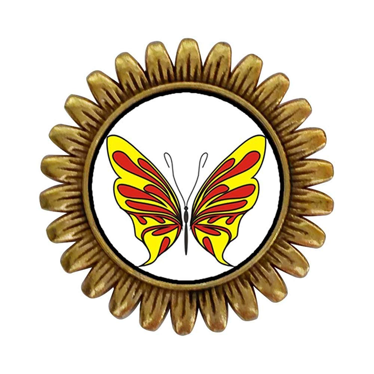 GiftJewelryShop Ancient Style Gold-plated Yellow And Red Butterfly Sunflower Pins Brooch