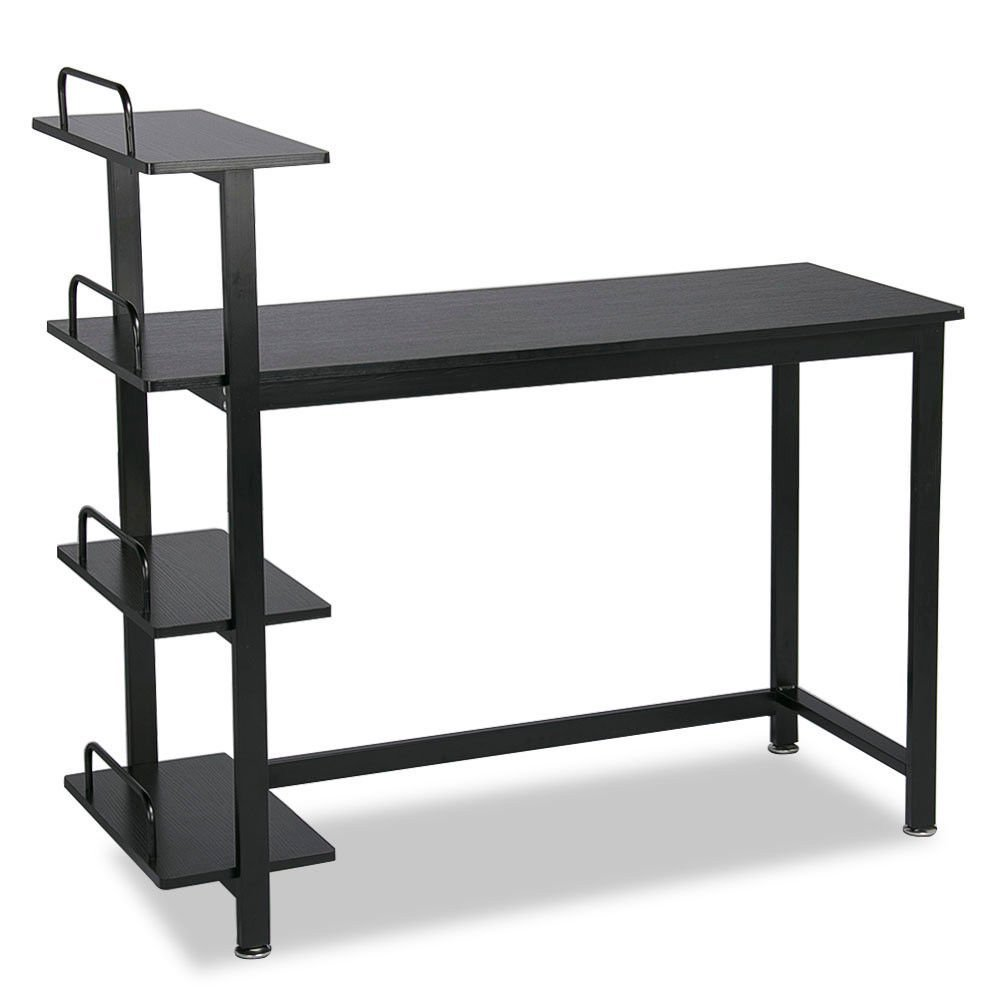 Eight24hours 4 Tier Computer Office Desk Wood PC Laptop Study Writing Table Storage Shelves - Black + FREE E-Book