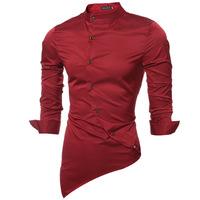 High-grade Emulation Silk Long Sleeve Shirts Men's Casual Shirt Shiny Satin Thin Men