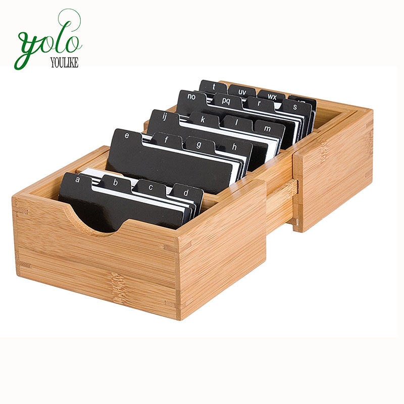 Bamboo Wood Expandable Business Card Holder Storage Holder Organizer With Alphabet Index Tabs