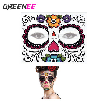 Day Of The Dead Skull Face Halloween Tattoo Sticker Cool Beauty Tattoo Waterproof Temporary Tattoo