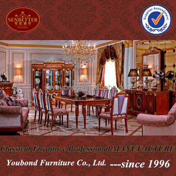 0038 Italian Design Royal Dining Room Furniture Wooden Classic Table And  Chairs
