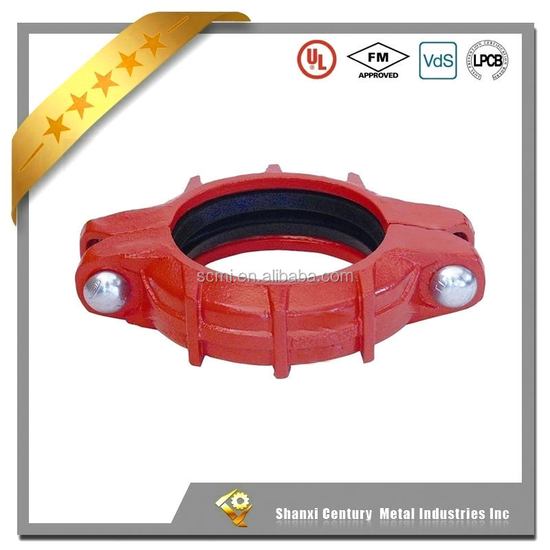 FM UL approved ductile iron heavy duty groove flexible coupling for fire fighting