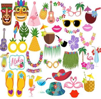 39pcs Luau Hawaii Photo Booth Props Kit For Holidaysummer Festivals