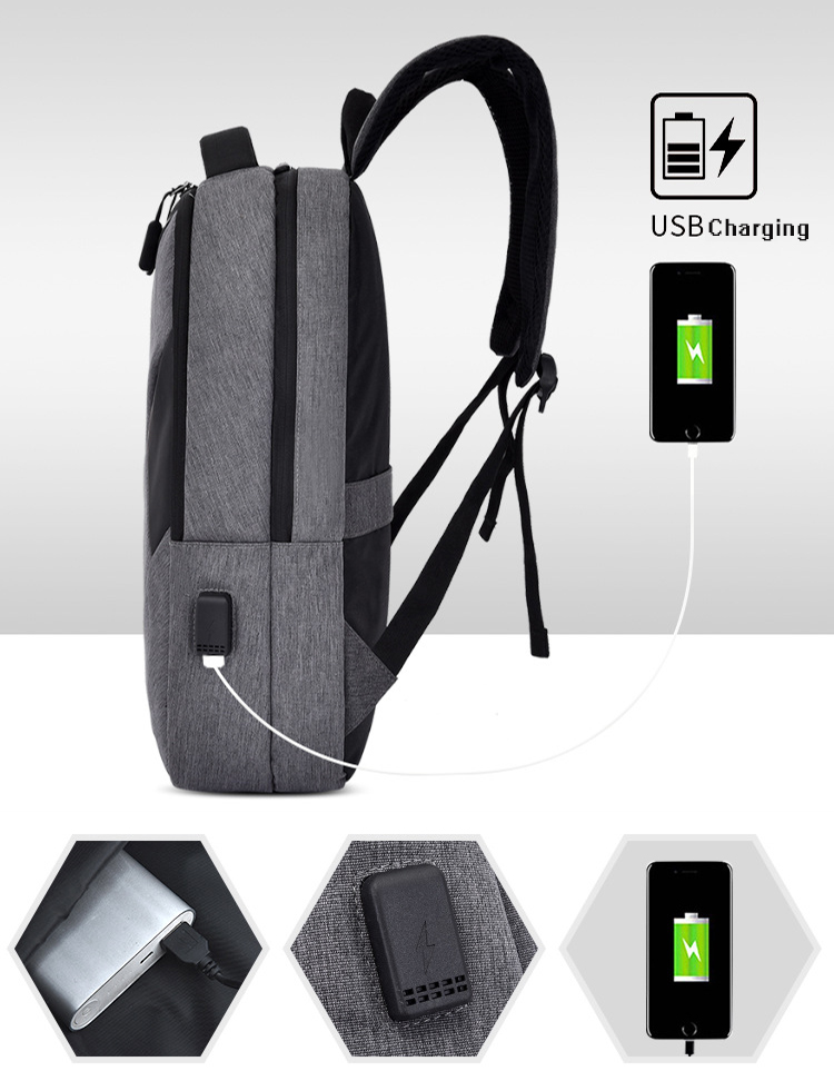 Color Blocking Waterproof School Travel Computer back pack bag Business 15.6 inch Laptop bags Smart Backpack With USB