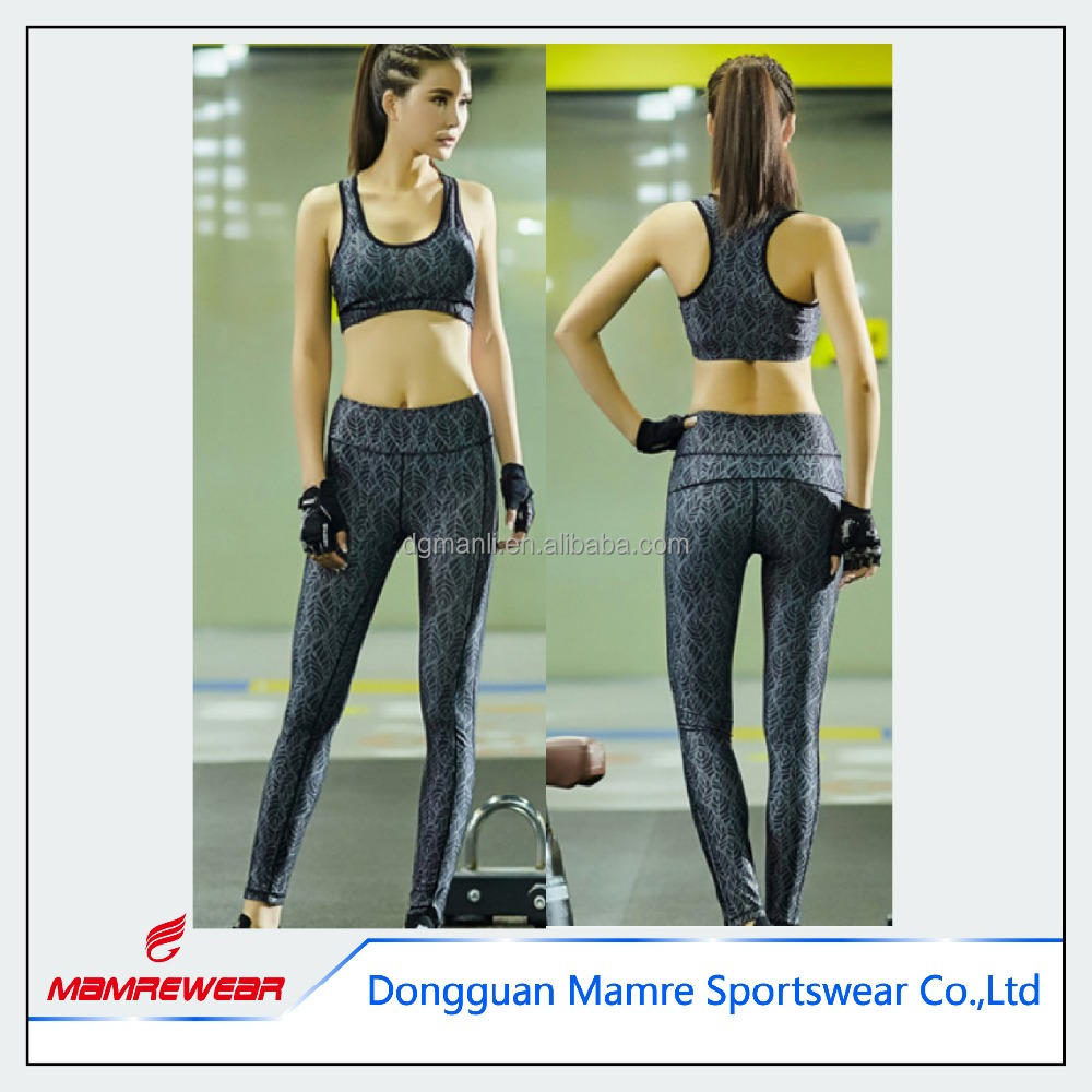 Wholesale sexy printed women fashionable sport fitness clothing set leggings and sports bra