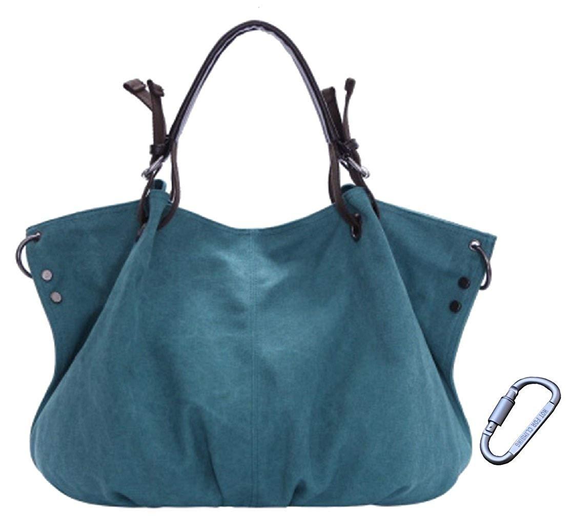 c4b596b373 Get Quotations · Codyna Canvas Hobo Handbag for Women with Carabiner    Large Purse   Crossbody Hobo Bag