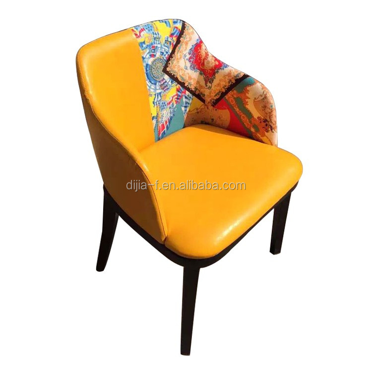 Colorful modern leather dining chair with armrest hotel for Colorful leather dining chairs