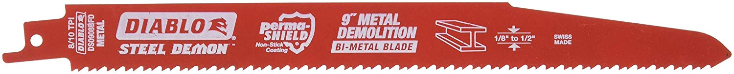Freud DS0908BFD5 9-Inch x 8-10T Steel Demon Diablo Reciprocating Blade, 5-Pack