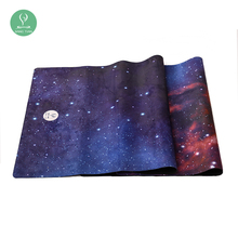 Foldable fabric suede microfiber cloth travel yoga mat cheap with yoga mat strap