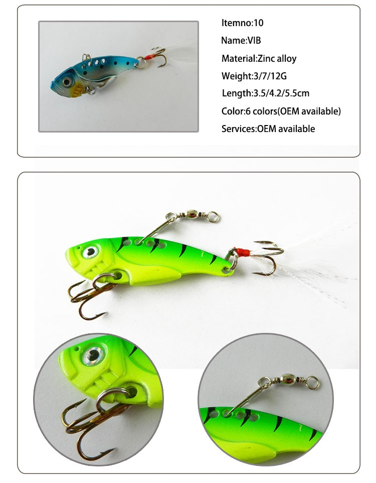 3G/7G/12G VIB Fishing Lure Multi Color Wholesale Metal Fishing Lure