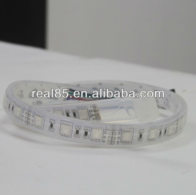 Waterproof RGB LED stripe, IP67, 300 pcs 5050 RGB, 12V/24VDC, 72W, White PCB, Width14MM, thickness 4.5MM, Shenzhen, factory