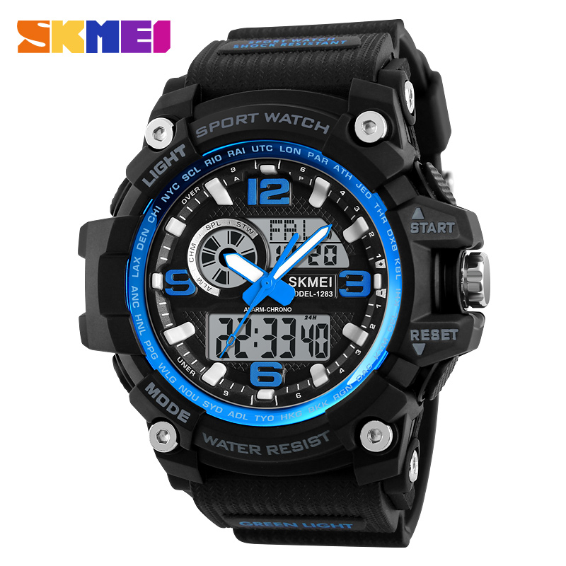 <strong>Hot</strong> Men's Multifunction Sport Watches Military Big Dial Double Quartz Digital Clock Skmei Brand Men Water Proof Analog Led Watch