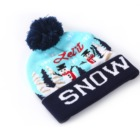 Winter Christmas LED lights wholesales holiday jacquard knitted beanie hats