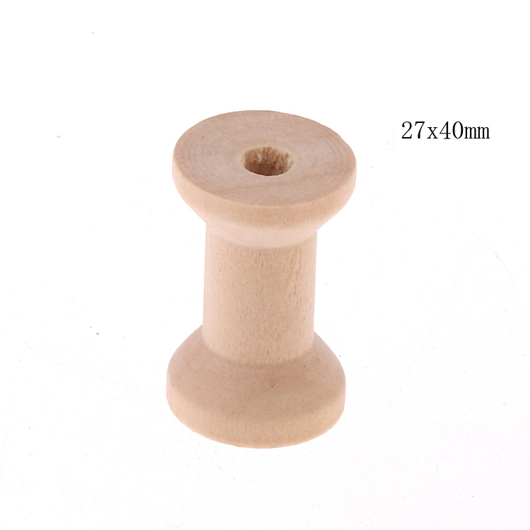China factory hot sale wooden bobbin empty ribbon spools natural industrial wooden spool