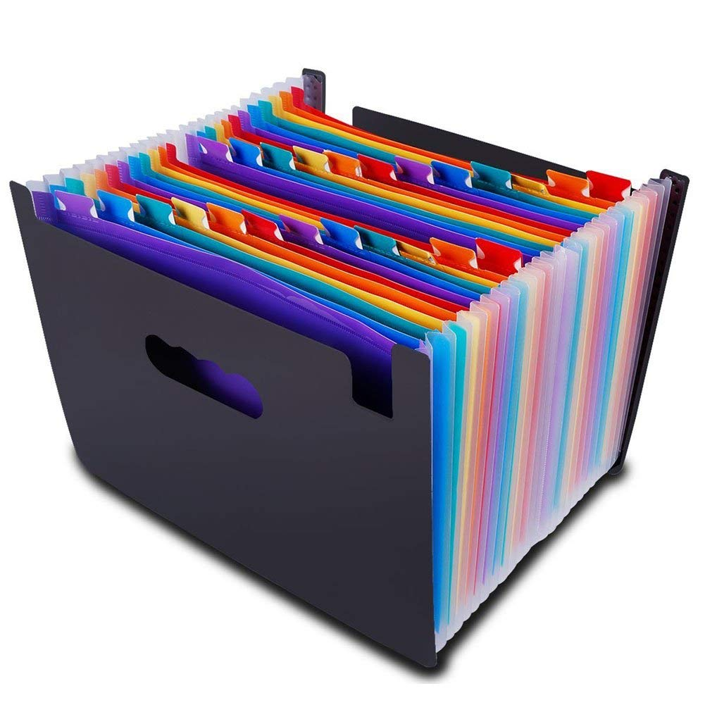 24 Pocket Expanding File Organizer – Multicolor Expandable Accordion Style Filing Folder – by Egros Home & Office (24 Pocket, Multi)