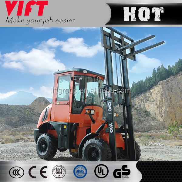 hydraulic steering system all rough terrain forklift 3 ton