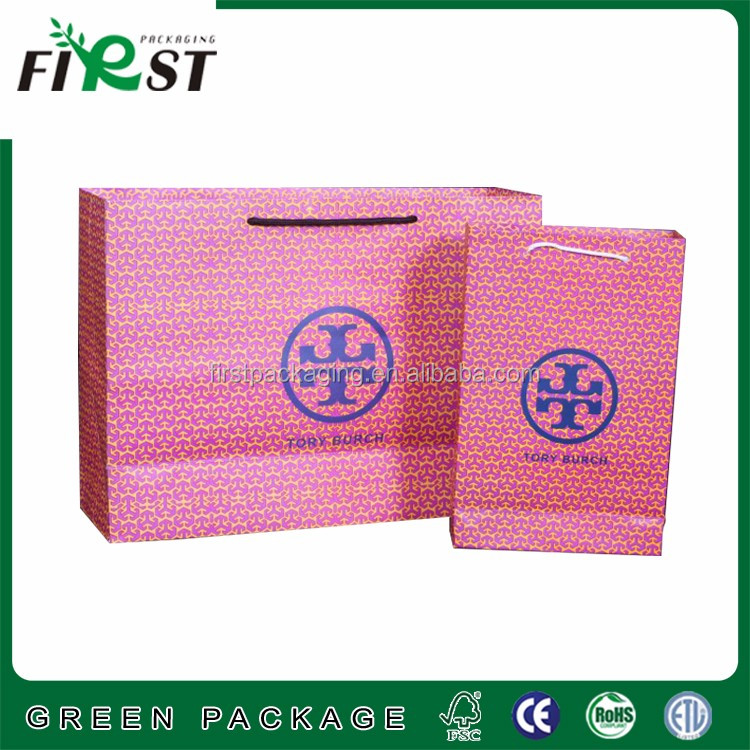 OEM eco friendly logo printed paper gift bag, Recycled paper shopping bag