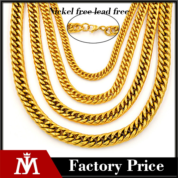 Wholesale cheap stainless steel pvd gold cuban chain necklace in stock punk link jewelry for men