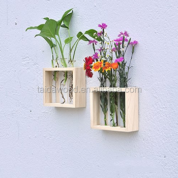 Wall Hanging Plant Test Tube Flower Bud Vase in Wooden Stand Perfect for Hydroponic Plants Home & Wall Hanging Plant Test Tube Flower Bud Vase In Wooden Stand Perfect ...