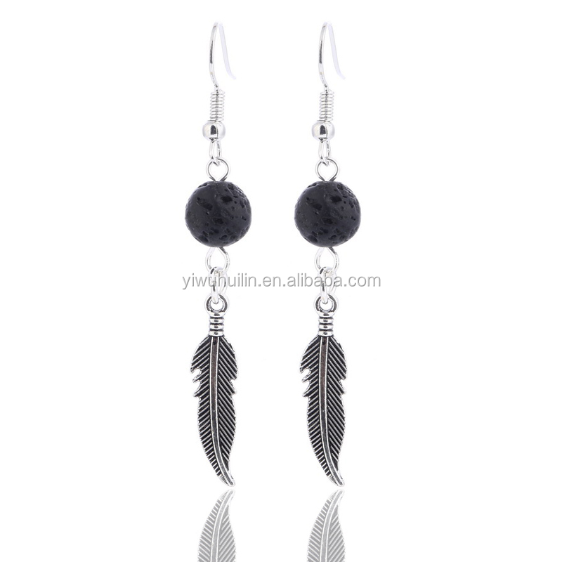 SP1006 Yiwu Huilin Jewelry lava stone feather earring aroma ball oil jewelry earring supplies gift