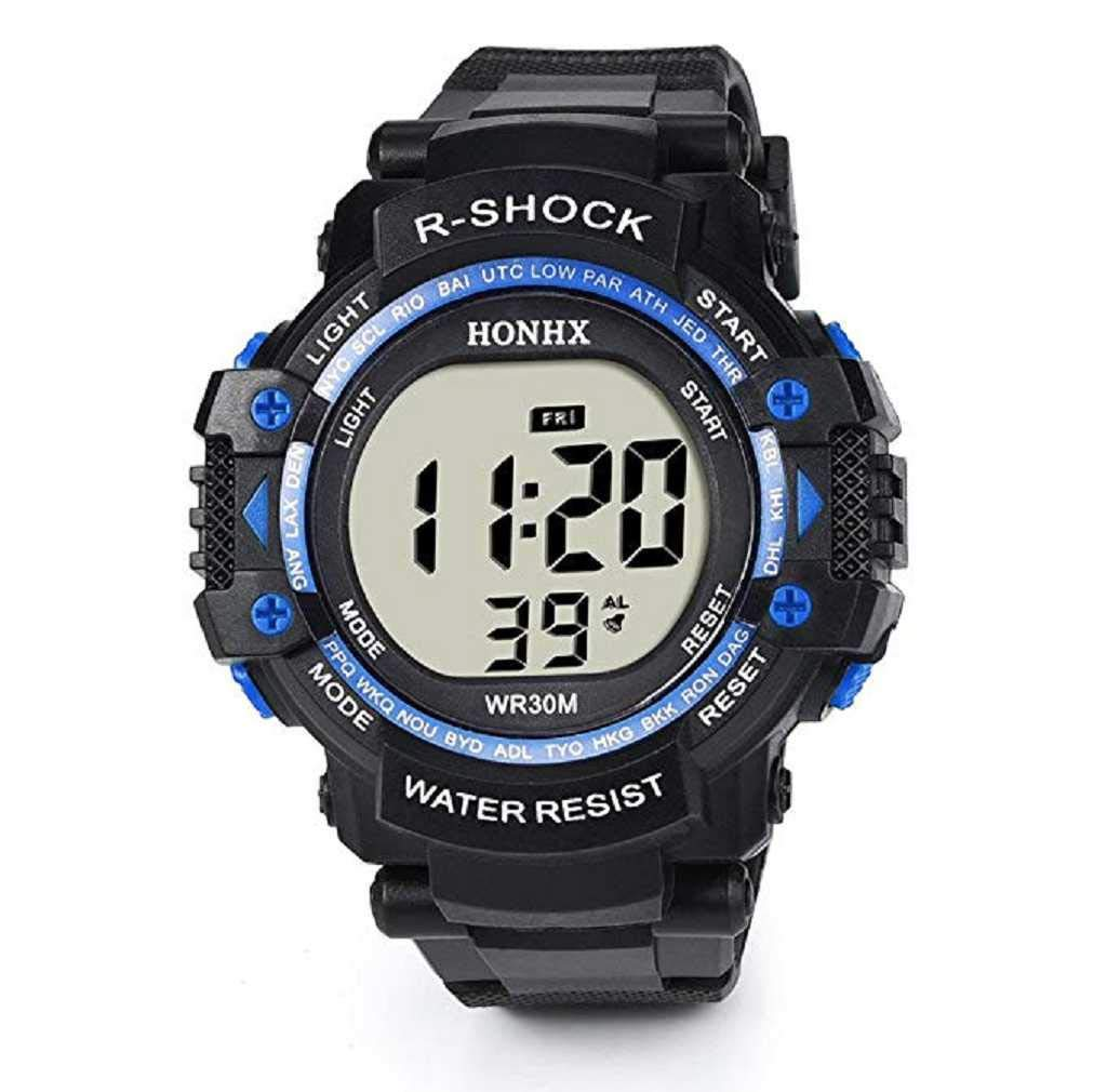 Clearance Sale! Mens Watches,ICHQ Men's Digital Sports Watch LED Screen Military Watches Casual Waterproof Luminous Simple Army Watch Stopwatch Alarm Mens Quartz Watches (Blue)