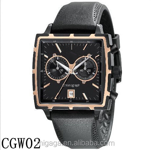 mens square watch 30M water resistant and chrono movement