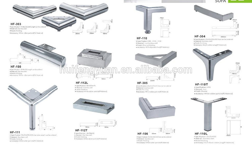 Furniture Legs Suppliers corner furniture sofa hardware parts/metal stainless steel