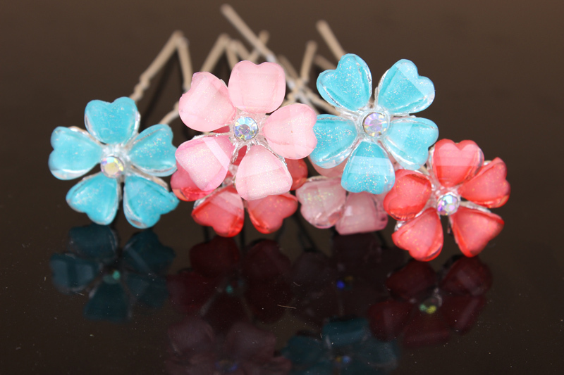 [Mix Color] 200pcs/box Sparkly Crystal Flower Silver Bridal Hair Pins Mixed 3 colors