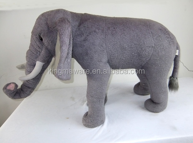 Giant Plush Standing Elephant Realistic Plush Elephant Ride On Toy