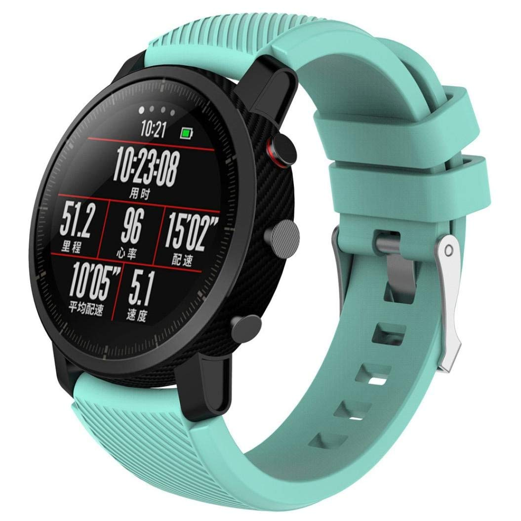 For Amazfit 2 Band Sports Replacement Soft Silicagel Watch Band Strap Adjustable Replacement Strap for HUAMI Amazfit Stratos Smart Watch 2 Wristbands Accesorios (Mint Green)