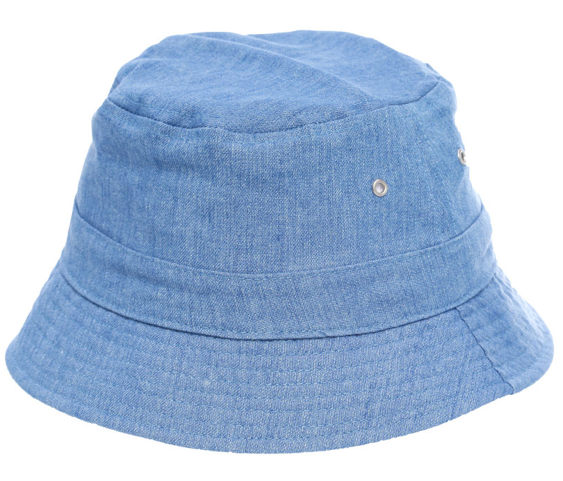 1608fafd6ca Reversible into white terry towelling Bucket hat Front PU logo patch Washed denim  bucket hat