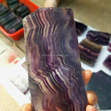 Natural Green&Purple Fluorite Slab Fancy Stone Cup Mats