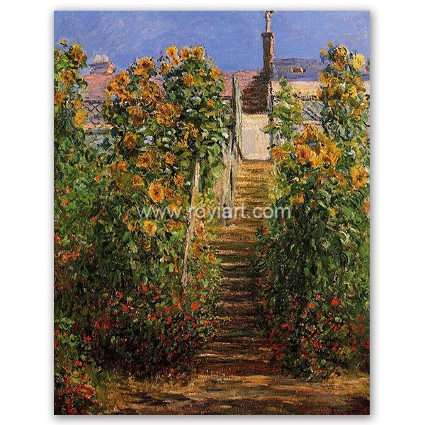Claude Monet garden scenery oil painting of The Steps at Vetheuil 1881