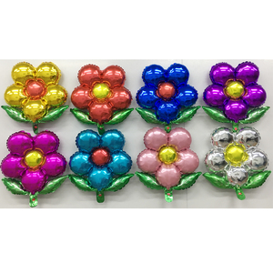 retail five-petaled flowers with green leaves shape birthday decoration foil balloons