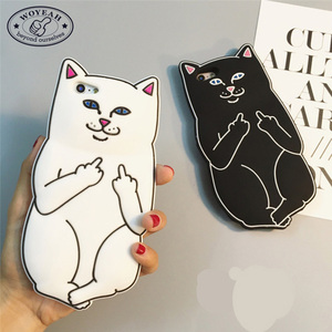 Best Selling Custom Logo Middle Finger Cat Silicone Phone Case For Iphone