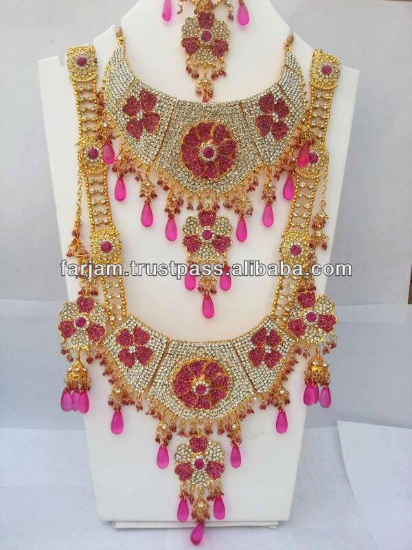 Indian jewelry sets pink images for Pink wedding jewelry sets
