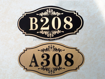 High Quality Embossed Luxury Hotel Room Door Number Plates For Hotel Supplies Wholesale