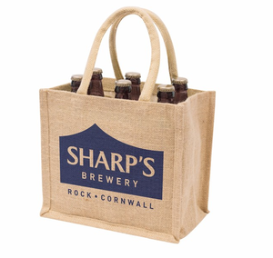 Manufacturer custom logo jute tote bag 6 bottles jute wine bag