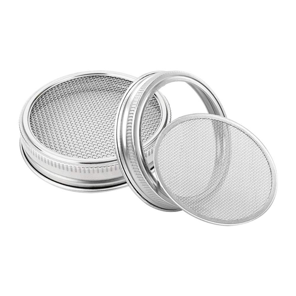 Sprouting Lids Kit for Wide Mouth Mason Jars Stainless Steel Sprouting Jar Lid for Growing Organic Sprouts,Strainer Lid for Seed Sprouting Jars(2pcs)