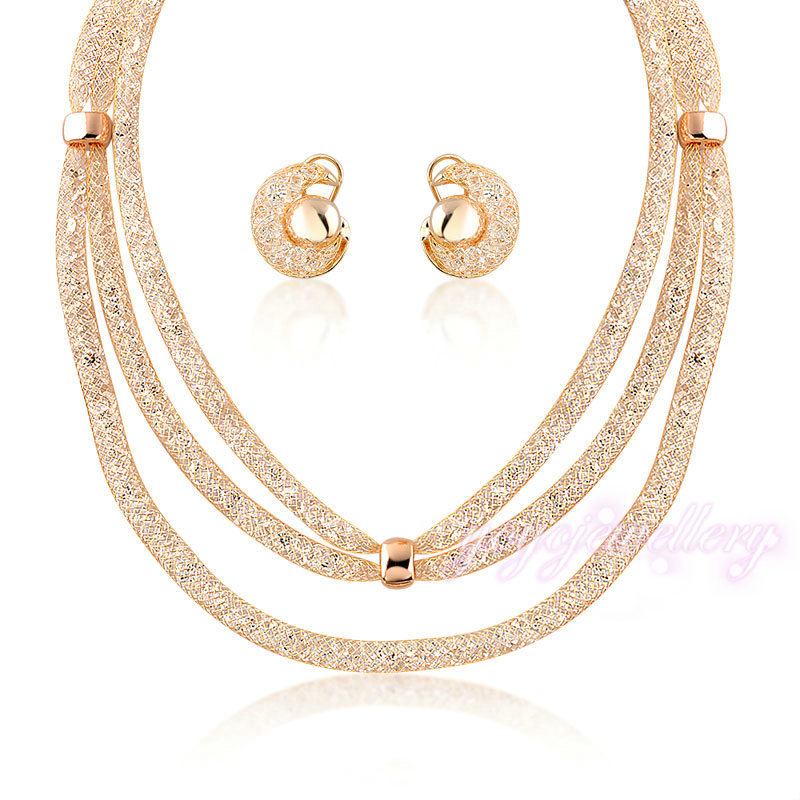 Gold Plated Jewelry Snail Earring 3 Pieces Mesh Clarity Crystal ...