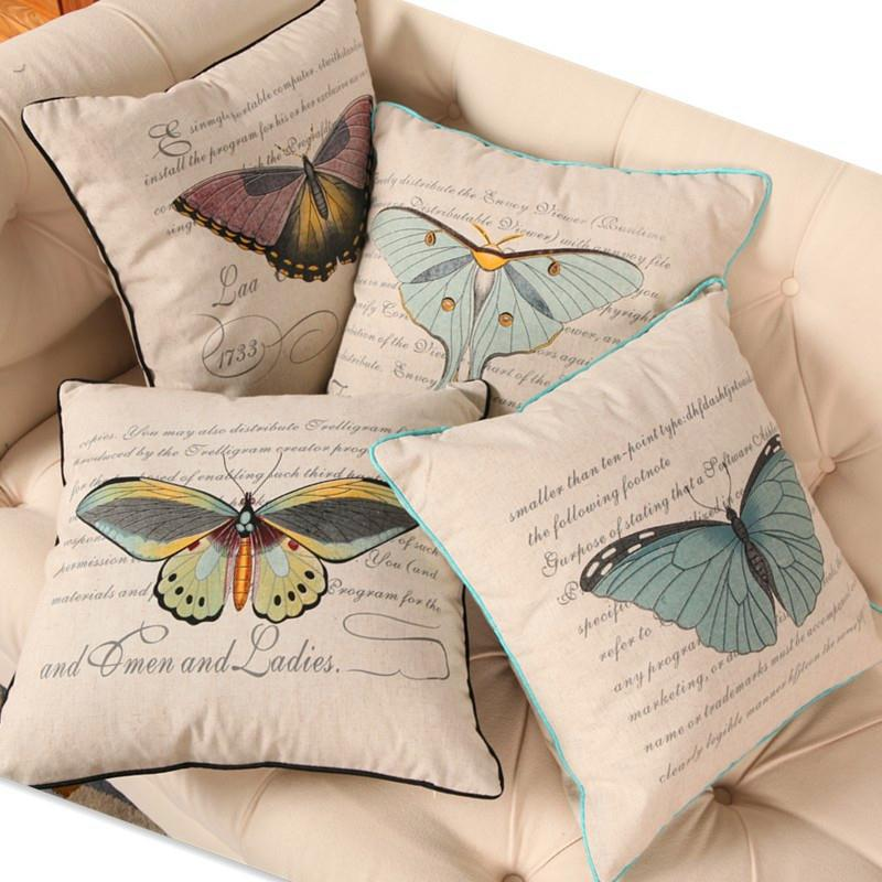 Free Shipping Fresh butterfly Bound Cotton Linen Fabric Decorative Cushion 45cm Hot Sale New Home Fashion Christmas Gift Pillow