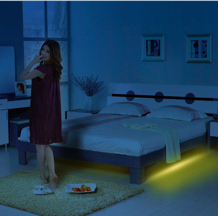 Motion Activated Under Bed Night Light Dual Led Strips Dual Motion ...