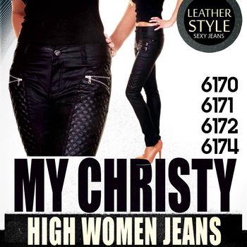 480335c26f7 My Christy BLACK GLAZED STRETCH SKINNY JEANS Leather Style 36-44 Wholesale  for women jeans