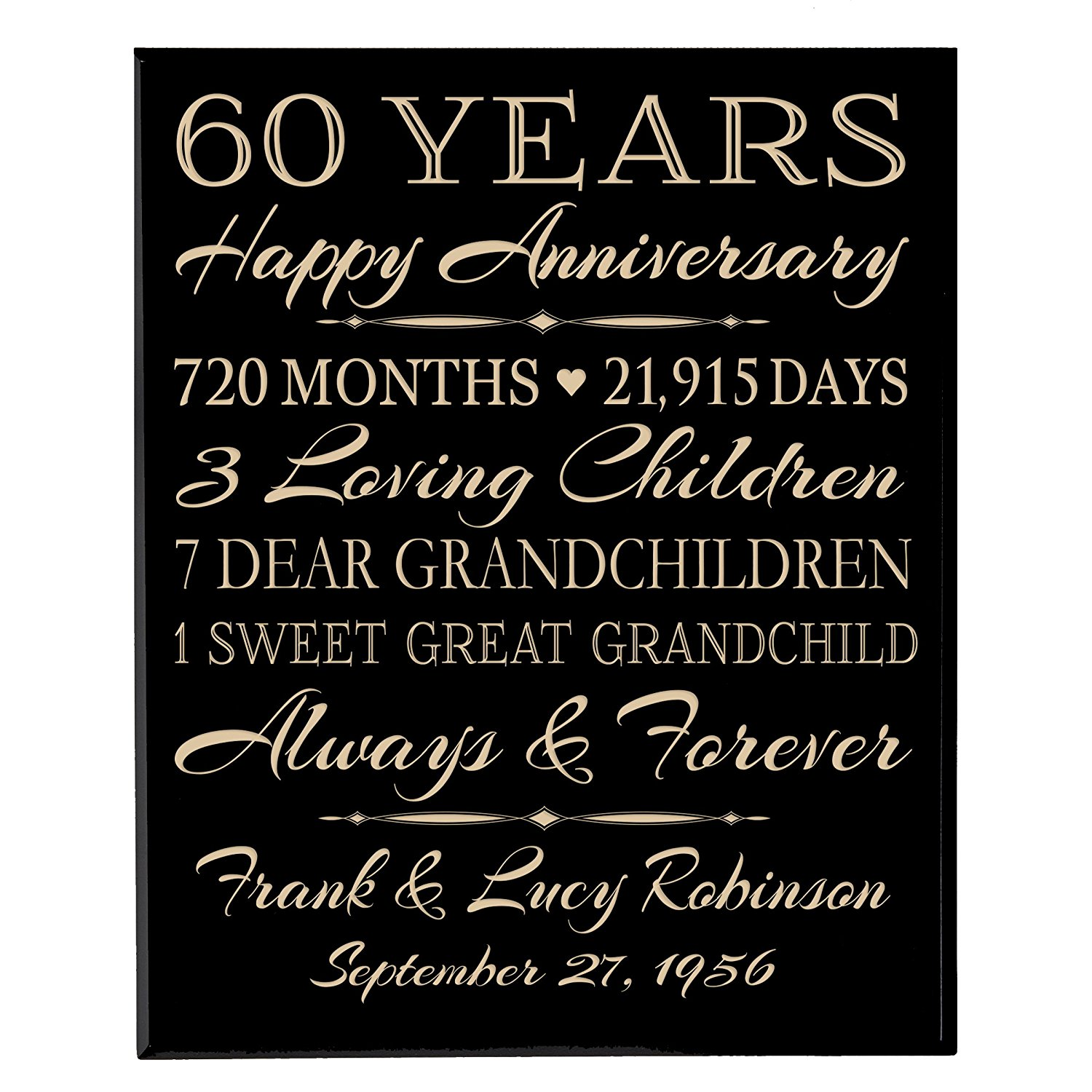"""Personalized 60th Anniversary Gifts for him her Couple parents, Custom Made 60 year Anniversary Gifts ideas Wall Plaque 12"""" x 15"""" By Dayspring Milestones (Black Solid Wood)"""