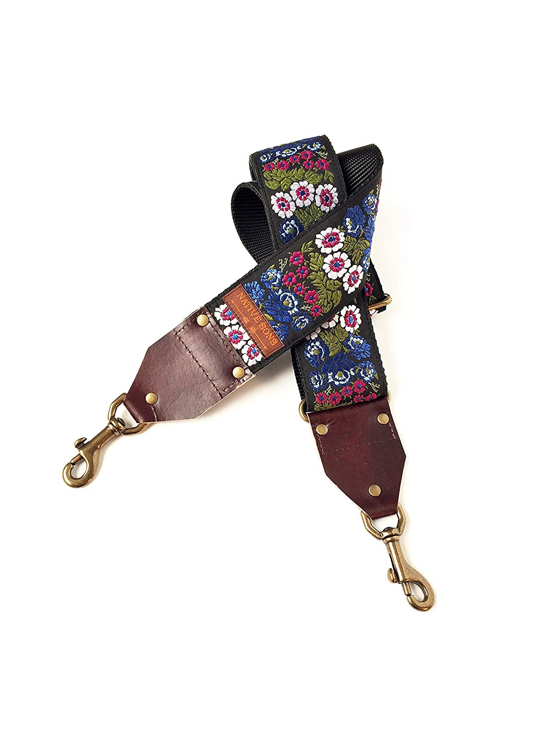 The Aster Guitar Strap Style Bag Strap- Unique Blue, green and Purple floral strap on Black background for purse, handbag, luggage strap,