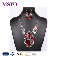 MSYO brand wholesale ruby gemstone antique silver bridal jewelry set vintage fashion necklaces jewelry