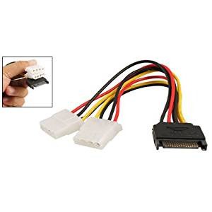TOOGOO(R) SATA 15 Pin Male to Female 4 Pin IDE Adapter Power Cable Cord